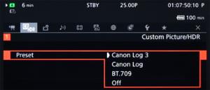 Canon, C200, Screenshot, Menü