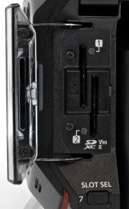 Kamera, Panasonic EVA1, Detail, Slots