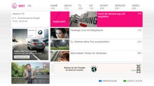 HbbTV-Seite bei Sat1, ca. 2011.