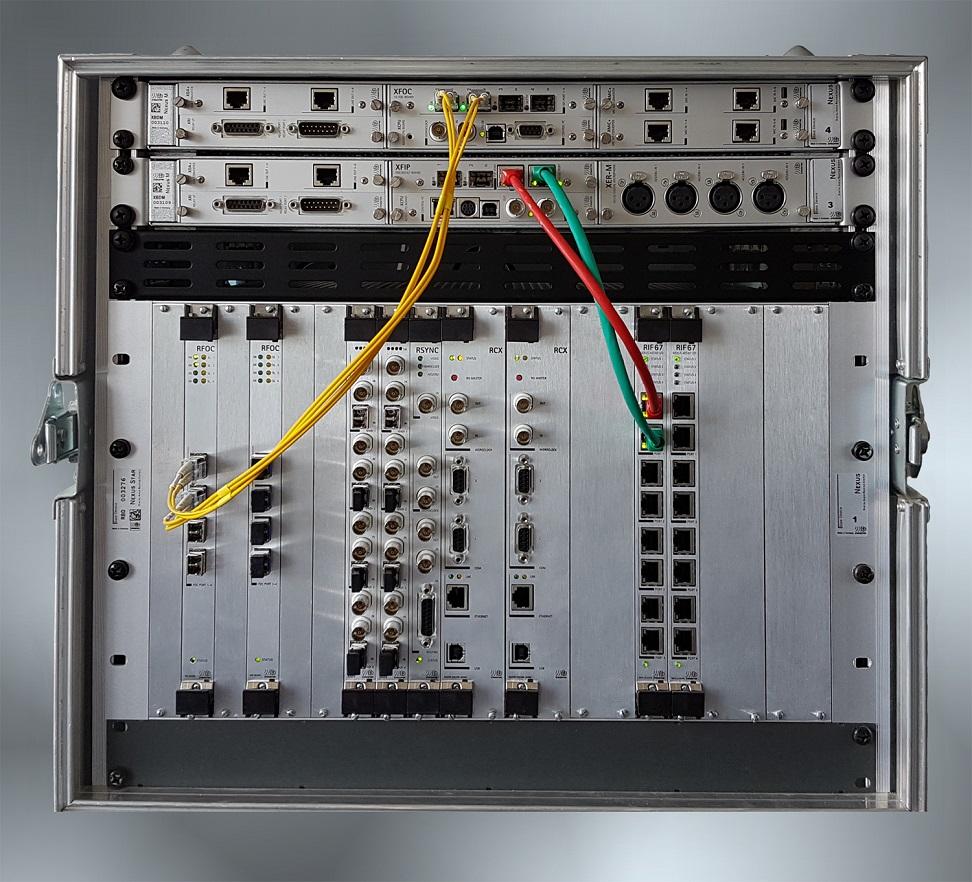NEXUS-Basisgeräte-Verbindungen: XFOC/RFOC-Schnittstellen für Glasfaser und/oder XFIP/RIF67-Schnittstellen für IP