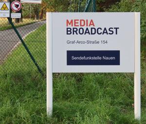 Media Broadcast, Sendefunkstelle Nauen, Schild, © Nonkonform